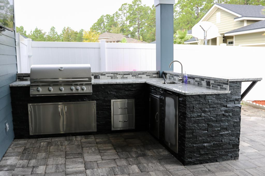 jax outdoor kitchen in natural finishes