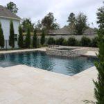 square pool travertine hot tub waterfall