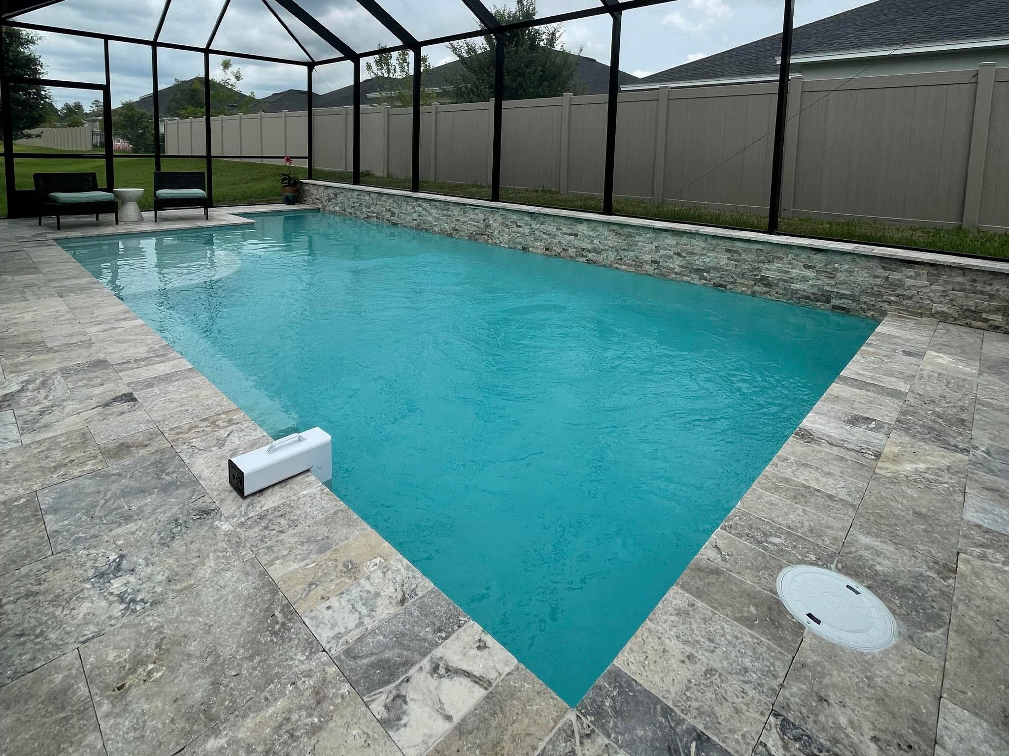 Grey Tile Inground Pool Screen Enclosure Sun Shelf