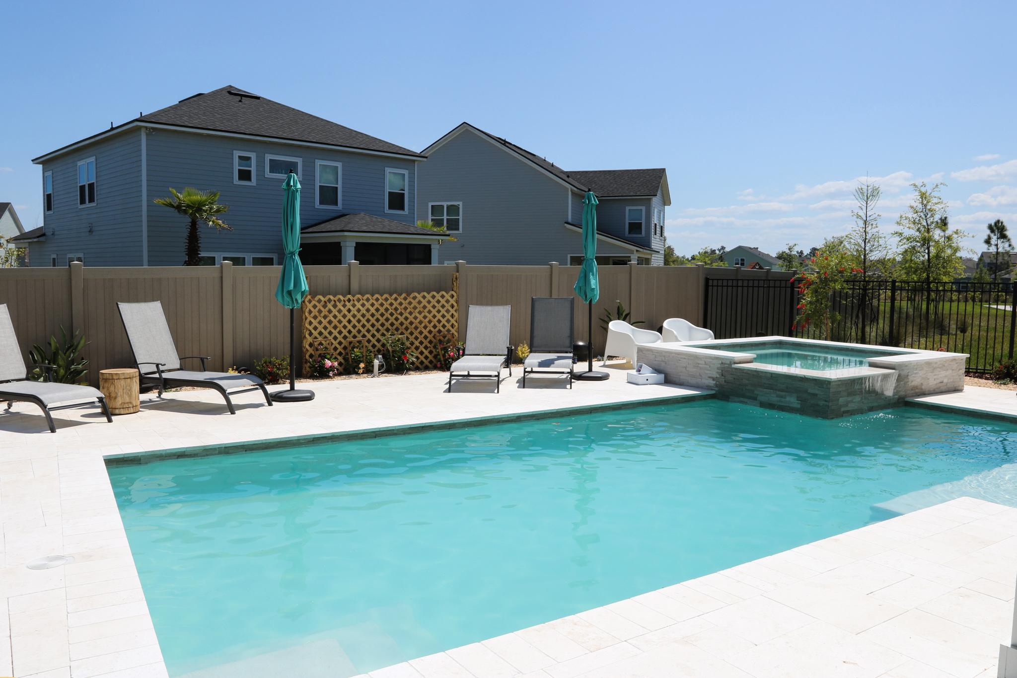 Inground Pool Sun Shelf Pool and Spa Combo