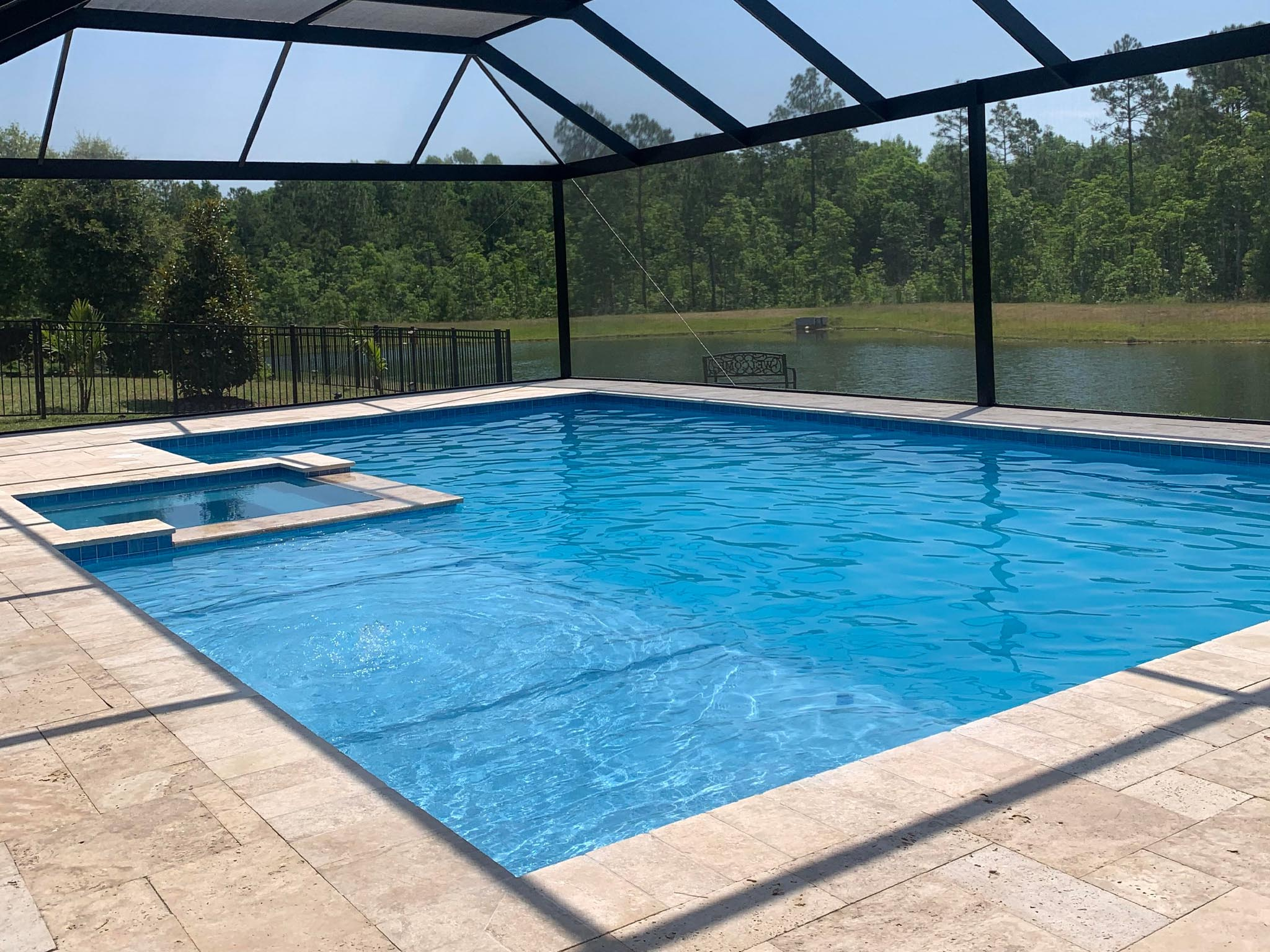 Pool and Spa Combo Pool Cage Sun Shelf