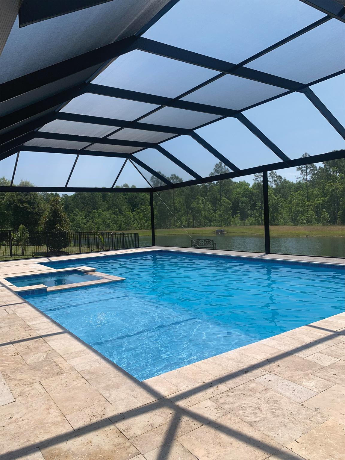 screen enclosure sun shelf pool and spa combo concrete