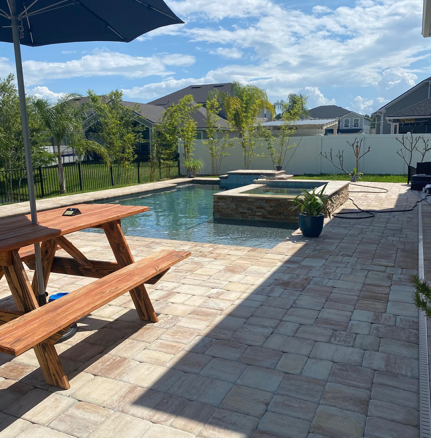 brown tile small pool hottub