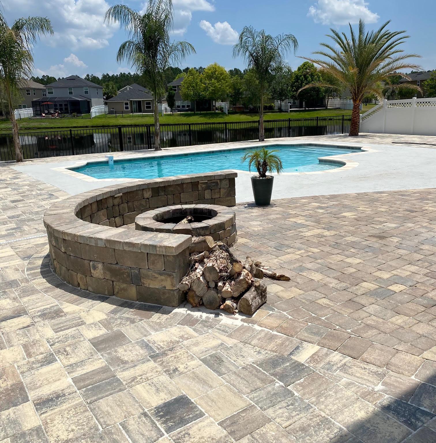 firepit concrete pool sun shelf