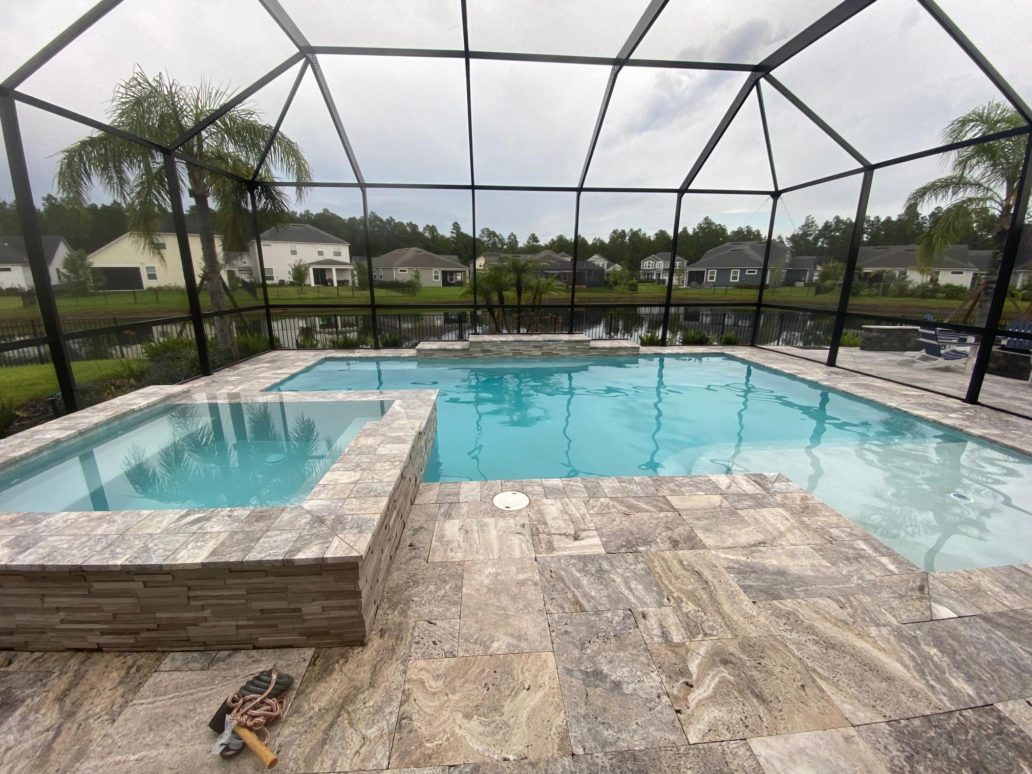 marble tile screen enclosure pool/spa