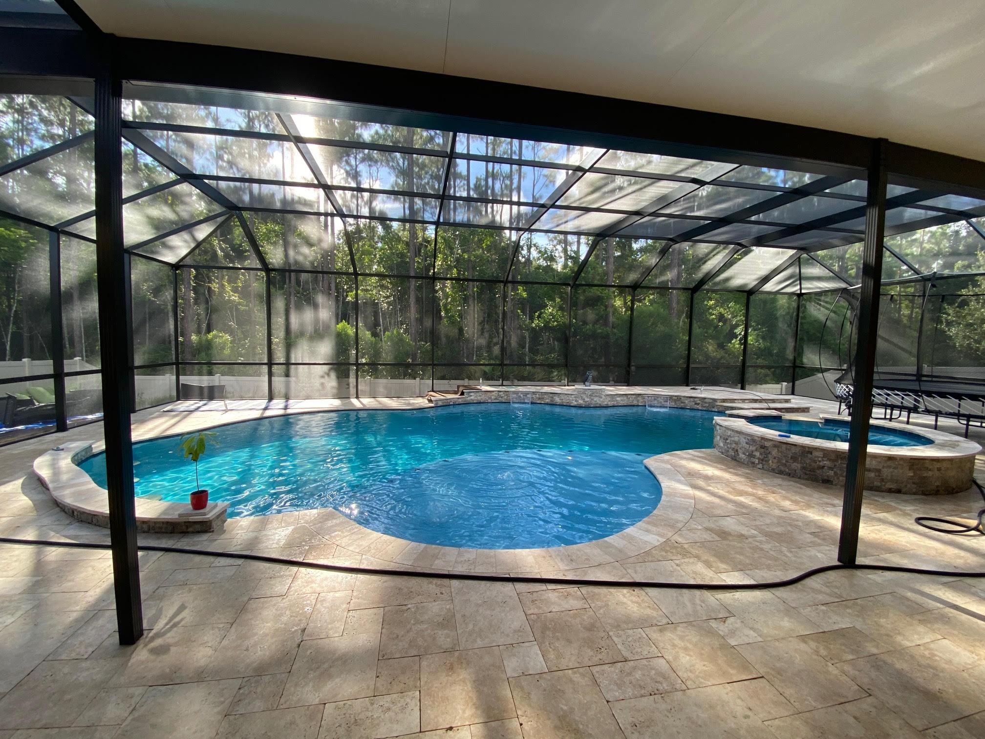 screen enclosure pool/spa pool design